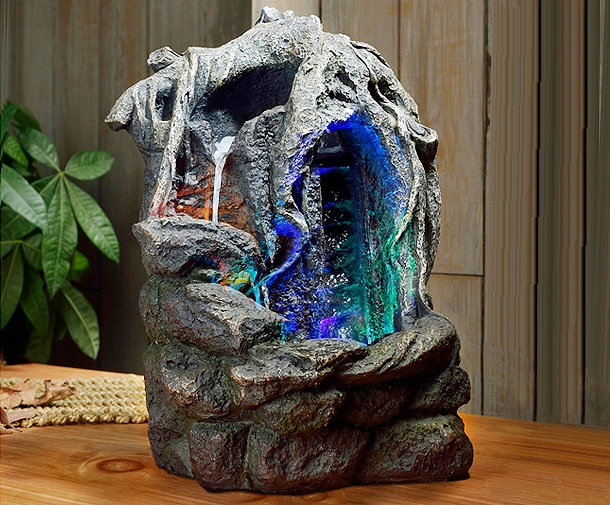 Fontaine d 39 int rieur avec clairage led nature fantasy - Fontaine decorative d interieur ...
