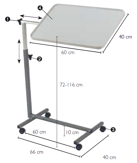 Table de lit sur roulettes pausa l865 invacare tables for Chambre urinaire