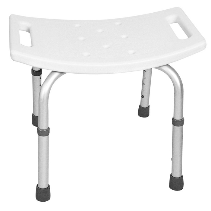 tabouret de douche blanc avec assise rectangulaire incurv e et ajustable en hauteur novolife. Black Bedroom Furniture Sets. Home Design Ideas
